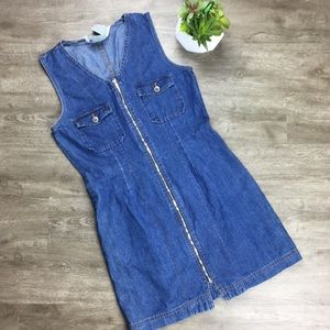 Bill Blass 90's Grunge Denim Jean Dress Jumper